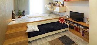 Подиум в квартире с выдвижной кроватью
