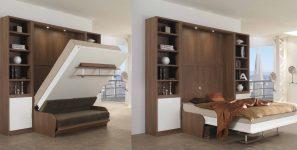 Шкаф со встроенной кроватью вертикального откидывания