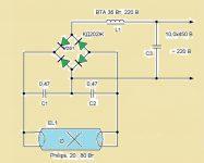 Схема запуска люминесцентных ламп без дросселя