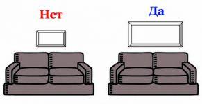 На какой высоте вешать картину над диваном
