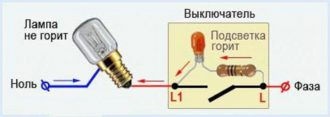 Светодиодная лампа горит даже в выключенном положении